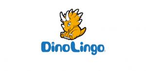 dinolingo logo with dinosaur
